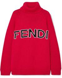 Fendi - Intarsia-knit Wool Turtleneck Jumper - Lyst