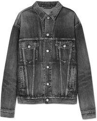 Balenciaga - Oversized Logo-embossed Denim Jacket - Lyst
