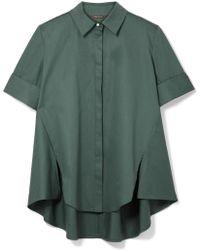 Adam Lippes - Faux Pearl-embellished Cotton-poplin Shirt - Lyst