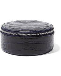 Smythson - Mara Croc-effect Leather Travel Case - Lyst
