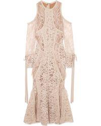Elie Saab - Cold-shoulder Georgette-trimmed Corded Lace Midi Dress - Lyst