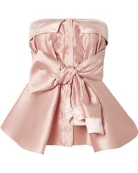 Alexis Mabille - Bow-detailed Satin Top - Lyst