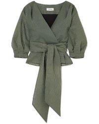 Cefinn - Striped Metallic Cotton-blend Voile Wrap Top - Lyst
