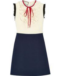 Gucci - Ruffle-trimmed Silk And Wool-blend Mini Dress - Lyst