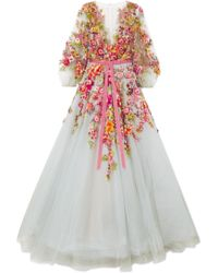 Marchesa - Embellished Appliquéd Tulle Gown - Lyst