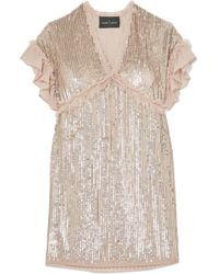 Needle & Thread - Sequined Chiffon Mini Dress - Lyst