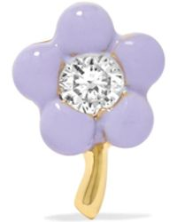 Alison Lou - Tiny Flower 14-karat Gold, Diamond And Enamel Earring - Lyst