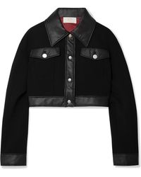 Sara Battaglia - Cropped Faux Leather-trimmed Wool-crepe Jacket - Lyst