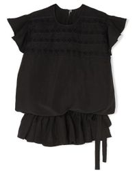 Matin Lace-trimmed Silk And Linen-blend Top