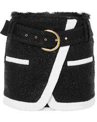 Balmain - Wrap-effect Metallic Wool-blend Bouclé Mini Skirt - Lyst