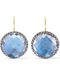 Larkspur & Hawk - Olivia Button Rhodium-dipped Quartz Earrings - Lyst