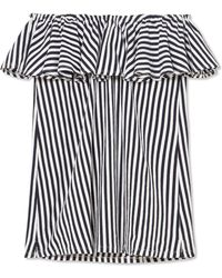 MDS Stripes - Ray Off-the-shoulder Ruffled Striped Cotton-jersey Top - Lyst
