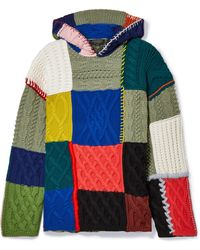 Burberry - Hooded Patchwork Wool-blend Jumper - Lyst
