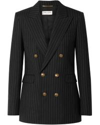 Saint Laurent - Double-breasted Pinstriped Wool Blazer - Lyst