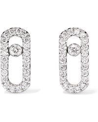 Messika - Move Uno 18-karat White Gold Diamond Earrings White Gold One Size - Lyst