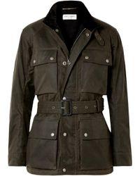 Saint Laurent - Belted Waxed Cotton-canvas Jacket - Lyst