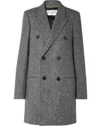 Saint Laurent - Double-breasted Herringbone Wool Coat - Lyst