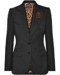 Dolce & Gabbana - Embellished Pinstriped Wool Blazer - Lyst