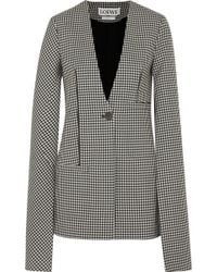 Loewe - Cape-effect Leather-trimmed Houndstooth Wool Blazer - Lyst