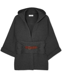 Brunello Cucinelli - Hooded Belted Ribbed Cashmere Cardigan - Lyst