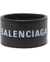 Balenciaga - Cycle Printed Textured-leather Bracelet - Lyst