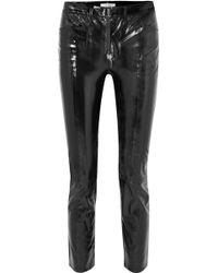 FRAME - Slick Cropped Patent-leather High-rise Slim-leg Pants - Lyst