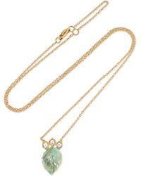 Brooke Gregson - Maya Leaf 18-karat Gold, Diamond And Aquamarine Necklace - Lyst