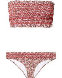 Tory Burch - Costa Smocked Floral-print Bandeau Bikini - Lyst