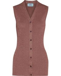 Prada - Metallic Ribbed-knit Vest - Lyst