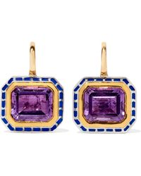 Alice Cicolini - 22-karat Gold, Enameled Sterling Silver And Amethyst Earrings - Lyst