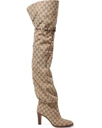 Gucci - Lisa Leather-trimmed Logo-jacquard Over-the-knee Boots - Lyst