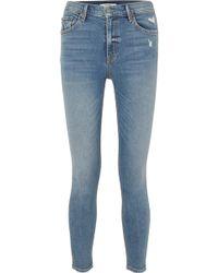 GRLFRND - Kendall Hoch Sitzende Skinny Jeans In Distressed-optik - Lyst