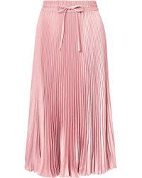 RED Valentino - Pleated Satin Midi Skirt - Lyst