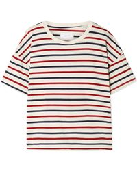 Current/Elliott - The Roadie Distressed Striped Cotton-jersey T-shirt - Lyst