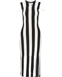 Christopher Kane - Cutout Striped Stretch-knit Midi Dress - Lyst