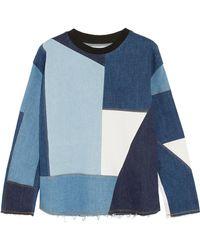 Victoria, Victoria Beckham - Frayed Patchwork Denim Sweater - Lyst