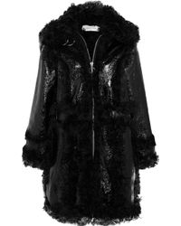Marques'Almeida - Shearling And Crinkled Patent-leather Coat - Lyst