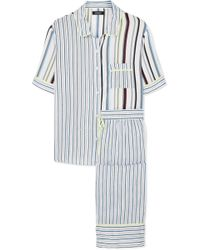 DKNY - Easy Does It Striped Crepe De Chine Pajama Set - Lyst