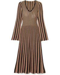 Adam Lippes - Pleated Striped Metallic Knitted Midi Dress - Lyst