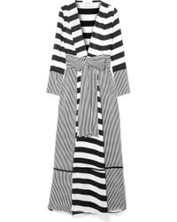 We Are Leone - Striped Silk Crepe De Chine Robe - Lyst