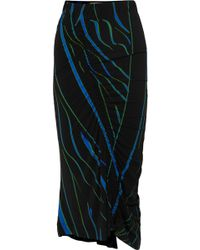 Preen By Thornton Bregazzi - Tracy Ruched Printed Stretch-crepe Midi Skirt - Lyst