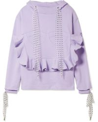House of Holland - Flocked Tulle-trimmed Ruffled Cotton-jersey Hooded Top - Lyst