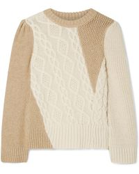 Co. - Two-tone Cable-knit Alpaca-blend Sweater - Lyst