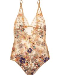 I.D Sarrieri - Embroidered Tulle Bodysuit - Lyst