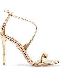 Aquazzura - Linda 105 Metallic Leather Sandals - Lyst