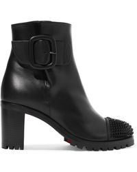 Christian Louboutin - Olivia Snow 70 Spiked Leather Ankle Boots - Lyst