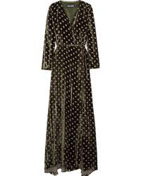 House of Holland - Polka-dot Devoré Crushed-velvet Wrap Maxi Dress - Lyst