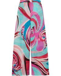 Emilio Pucci - Printed Silk-georgette Trousers - Lyst