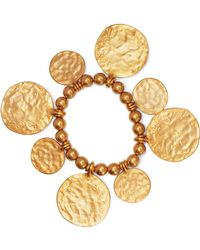 Kenneth Jay Lane - Hammered Gold-tone Beaded Bracelet - Lyst
