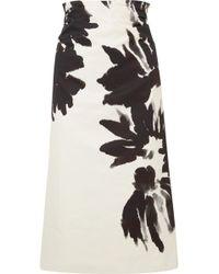 Dries Van Noten - Ruched Floral-print Cotton-twill Midi Skirt - Lyst